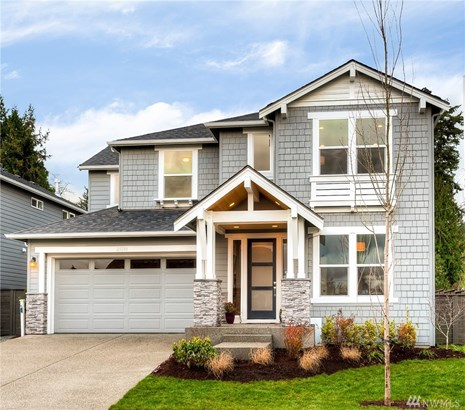 East-facing Corner setting.  Lot 1 - Bentley Plan - 3868 sf, 5 bedrooms including main floor bedroom w/ ensuite 3/4 bath, and a 1/2 bath, den, bonus room, 3 -Car tandem garage and covered outdoor space. Lot 1 is complete and Move-in Ready!