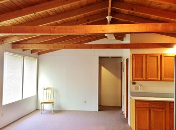 The open floor plan gives this cottage a spacious atmosphere with lots of windows to bring in plenty of sunlight and again the wood beamed vaulted ceiling. The living room is open to the dining and kitchen areas as well as the small laundry area. (photo 3)