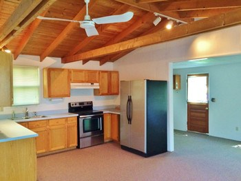 The kitchen is neat and clean and updated appliances. The carpet throughout is in newer condition. (photo 4)