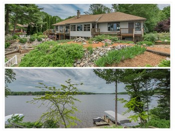 Watch the sunset on Sunset Way!  Well-maintained ranch style home with walk-out basement and 104 feet on Sanford Lake!  Located close to Midland, this home features 4 bedrooms, 3.5 baths, a large and open great room with sizable picture windows overlooking the water, a huge main floor master suite with his and her closets, and a finished lower level that leads you to the water!  Other great features include; a workshop area, newer roof, an exercise room, a large storage room,  a two-sided fireplace in between the great room and kitchen, a permanent 22 foot steel channel dock with lighting, a steel seawall, and 46 foot long deck.  All situated on a large lot with upgraded landscaping.  Check it out today! (photo 1)