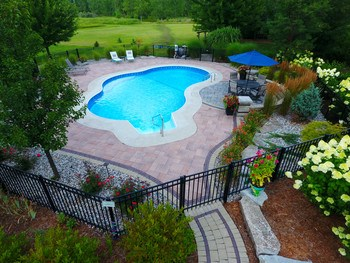 Warm summer days are perfect for relaxing in this stunning pool!  Extended shallow end is perfect for lounging ! (photo 5)