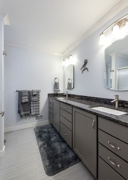 The owners truly have a fantastic eye for detail! Granite counter tops, custom shower doors, porcelain tiles, and Kohler fixtures accompany each main floor bathroom in this home! (photo 4)