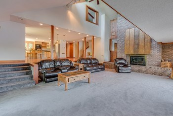 The home is open with beautiful high vaulted ceilings and a fireplace. (photo 4)