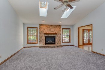 Generous size great room with new carpeting, gas log fireplace, vaulted ceiling and sky lights. (photo 4)