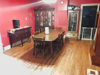 Great dining room for family dinners and entertaining.  Nice wood floors. (photo 5)