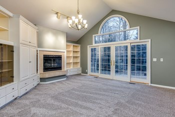 A fabulous vaulted ceiling living room with built in shelves, cable and sound system, plus a gas log fireplace. Patio doors to the deck. (photo 4)