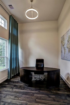 Office features extra tall 14' ceilings with a custom LED light fixture and windows provide plenty of natural light (photo 3)