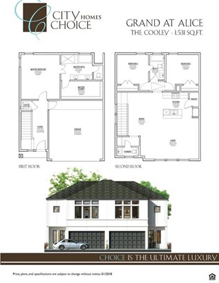 """City Choice Homes present """"The Cooley"""" floor-plan. Thoughtfully executed plan consisting of 1,531 SQ.FT. 3 bedrooms, 2 bathrooms and 1 half bath. (photo 2)"""