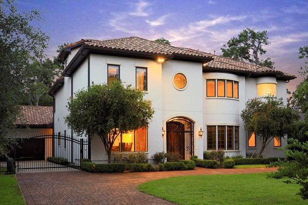 Beautiful Mediterranean style 6-bedroom home in Bunker Hill Village with tile roof, gated & semi-circle driveway and quality custom features. (photo 1)