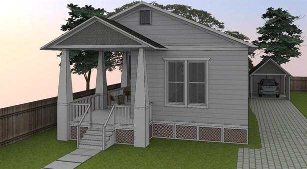 """Alternate perspective of initial design rendering. The single story home with 2 outdoor living areas features European White Oak flooring in 7.5"""" planks throughout & high ceilings throughout. Private driveway leads residents to an over-sized dual carport (photo 4)"""