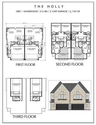 The first floor living offer 3 quarter solid hardwood floors, living/dining/kitchen combo with gas fireplace and powder room. Second floor boasts master suite and guest bedroom. Third floor offers game room and additional guest bedroom. (photo 3)