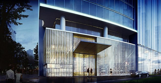 Arabella is inspiration is from a crystal wall in the lobby of the Baccarat Hotel & architect Richard Meier s glass clad Hudson River High Rises. The residential building will feature 34 stories and a limited number of private pools and elevators. (photo 1)