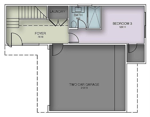 First Floor Plan - Guest bedroomwith attached bath and laundryroom. The entry will have anopen feel due to the framelessglass stair railing. Sliding glassdoor from the bedroom leads to asmall yard. (photo 4)