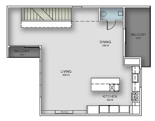 Second Floor Plan - Living,kitchen and dining area, powderroom and outdoor terrace. (photo 5)