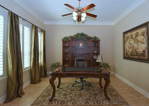 """Off the Entry on the left is the Study (which could also be Formal Living Room) customized with Designer Paint, Crown Mould, 4"""" Plantation Shutters and Custom Draperies - Ceiling Fan. (photo 4)"""