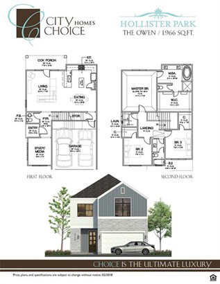 The Owen floor-plan. 1,966 SF of living space on 2 levels with a privatized backyard & porch. (photo 2)