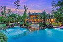 Spectacular view of the luscious manicured backyard situated on 2 acres featuring large towering trees, gas fire pits, an unbelievable resort-style swimming pool with grotto, waterfalls, water slide and an enormous spa that was previously featured on HGTV (photo 1)
