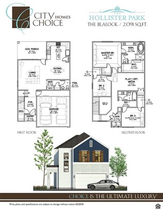The Blalock Floorplan & front elevation. 2,091 SF consisting of 3 bedrooms, 2.5 bath with an additional upstairs living area. (photo 3)