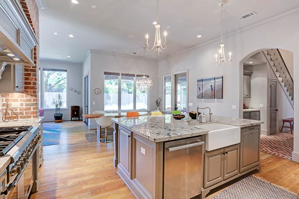 I love this photo!! Command central with the kitchen work triangle in full effect. Large island with furniture legs, undermount farm sink and stainless appliance package. (photo 1)