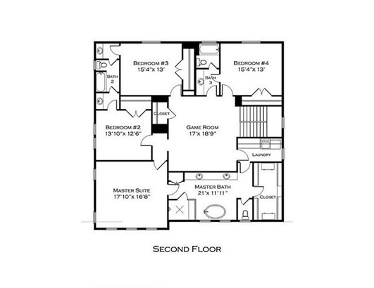 Second level with spacious game room, 3 secondary bedrooms and large master suite. Master bath with separate soaking tub and walk in shower has easy access to the utility room. (photo 3)