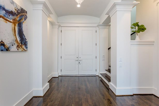 Walk right in to this lovely entry area. To your left is a staircase that will take you up to the secondary bedrooms, game room/study area and media room. Notice the beautiful hardwood floors and detail trim work that flows seamlessly throughout the entir (photo 4)