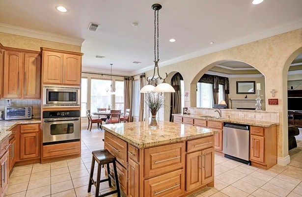 The expansive kitchen has everything you ll need: upgraded granite counters, stainless appliances, center island, breakfast room and tons of storage. At one end of the kitchen is a butler s pantry and at the other end a powder room and office area. (photo 1)