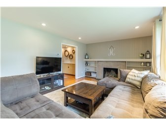 Living room with fireplace and built in shelves (photo 4)
