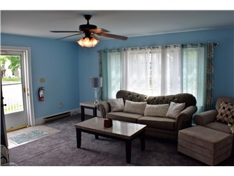 Living room with new carpet and ceiling fan (photo 2)