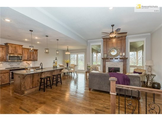 The main level is open, with a huge kitchen island, living room space and dining room. The windows really showcase the beautiful green space in the backyard. The kitchen counters are granite. (photo 4)