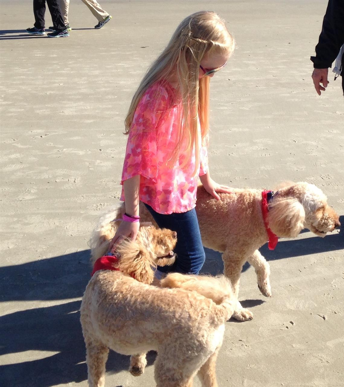 Hilton Head Island SC Folly Field Enjoying the beach with dogs for Valentines Day