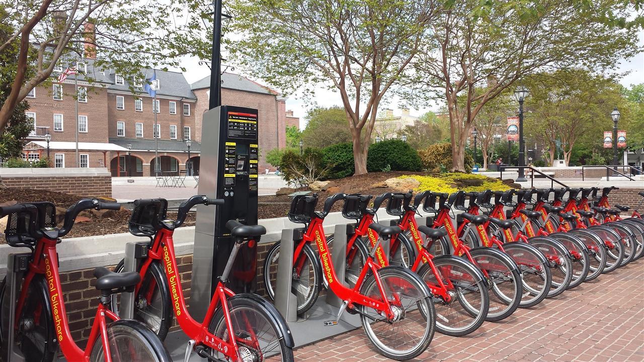 Capital Bikeshare stations throughout Alexandria. City Hall on King Street, Alexandria VA