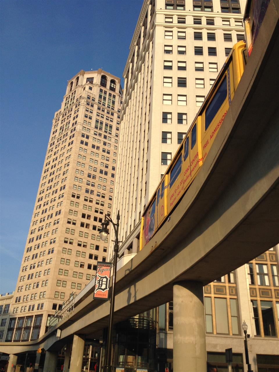 The People Mover in action. The People Mover is an automated guideway transportation system that circulates around downtown Detroit. ~ Detroit, Michigan #LeadingRElocal #Detroit #Michigan