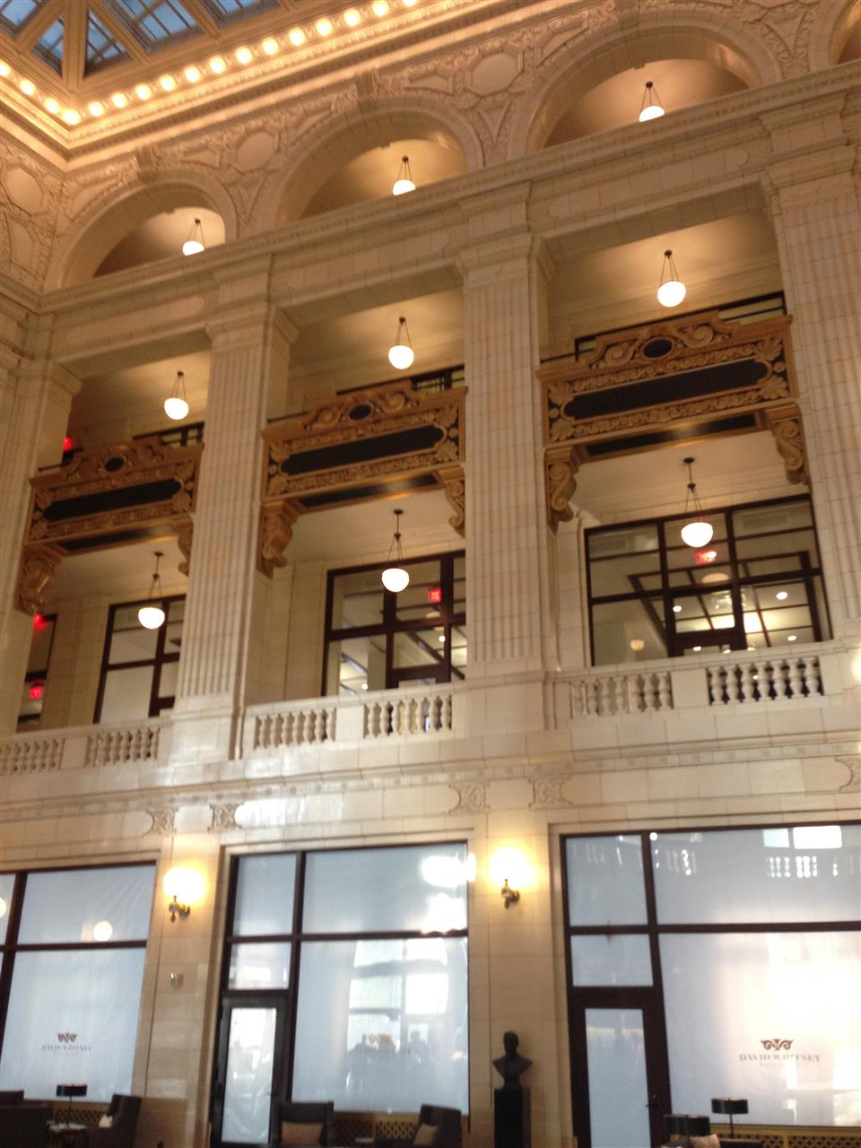 The restored David Whitney Building lobby. The David Whitney Building is a historic class-A skyscraper located within the Grand Circus Park Historic District ~ Detroit, Michigan #LeadingRElocal #Detroit #Michigan