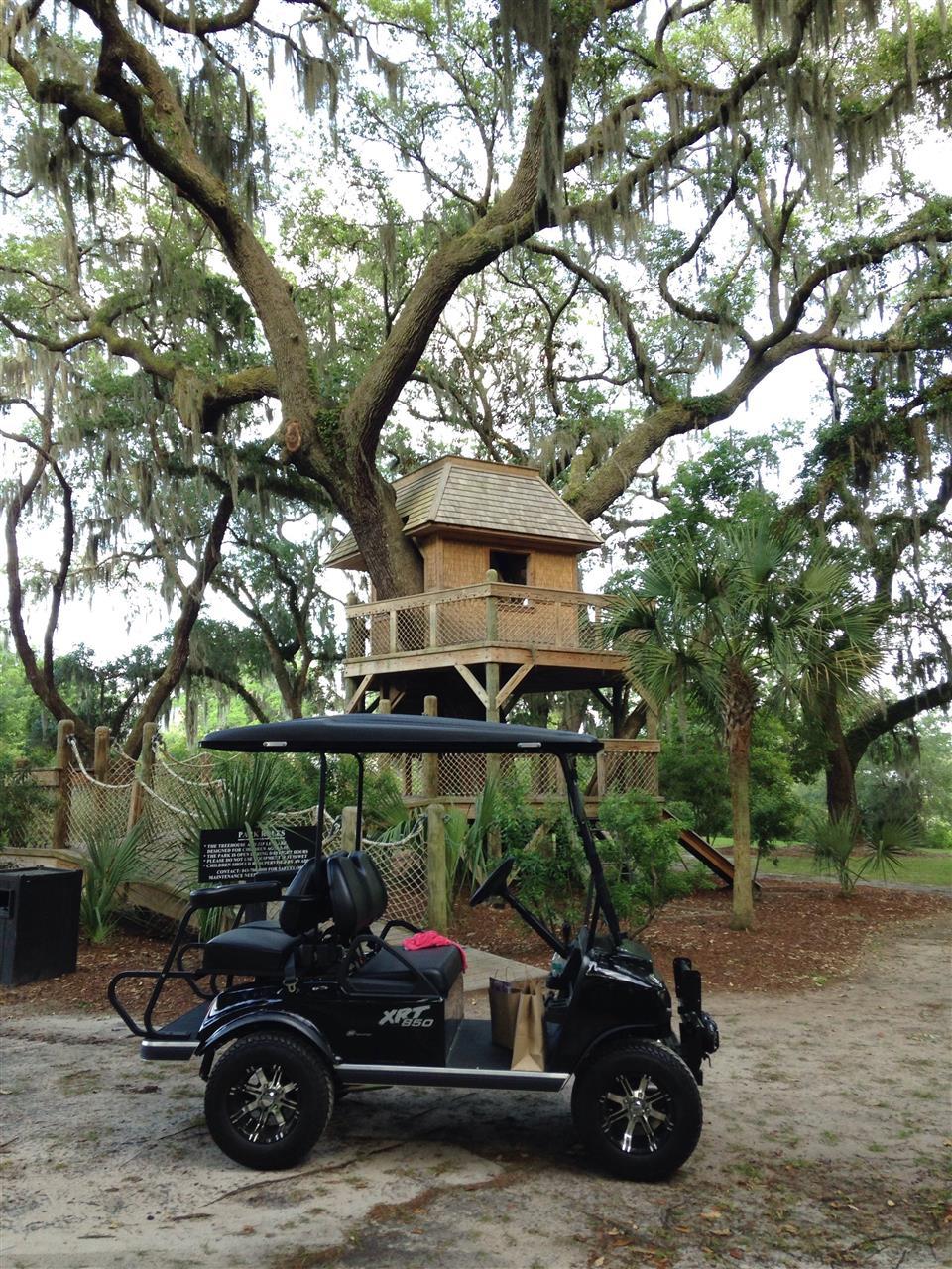 Palmetto Bluff Bluffton/HHI SC, taking a ride to the fun liveoak treehouse for the community of Palmetto Bluff