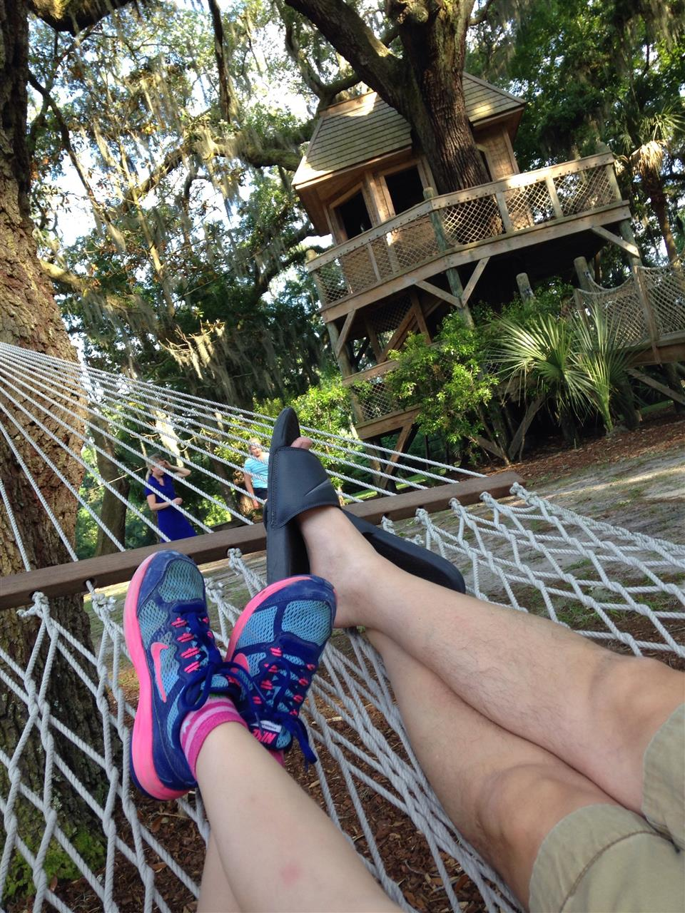 Palmetto Bluff Bluffton/HHI SC, Family laying in the hammock by the tree house