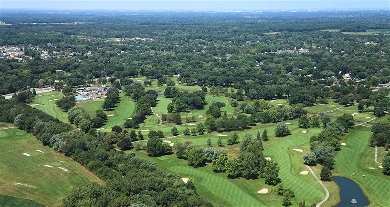 Aerial view of golf course located at at Innsbrook Country Club in Merrillville, Indiana.
