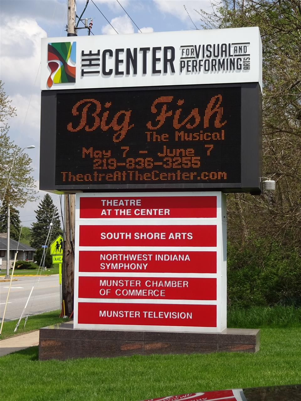 Center for Visual and Performing Arts along Ridge Road in Munster, Indiana, which is home to the Theatre at the Center, South Short Arts Gallery, Northwest Indiana Symphony, Munster Chamber of Commerce and Munster Television local access studio.