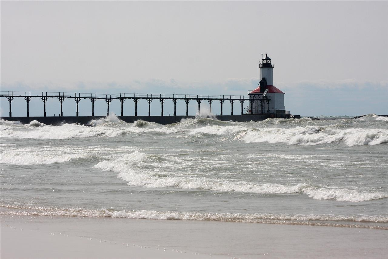 The lighthouse pier on Lake Michigan in Michigan City, Indiana.