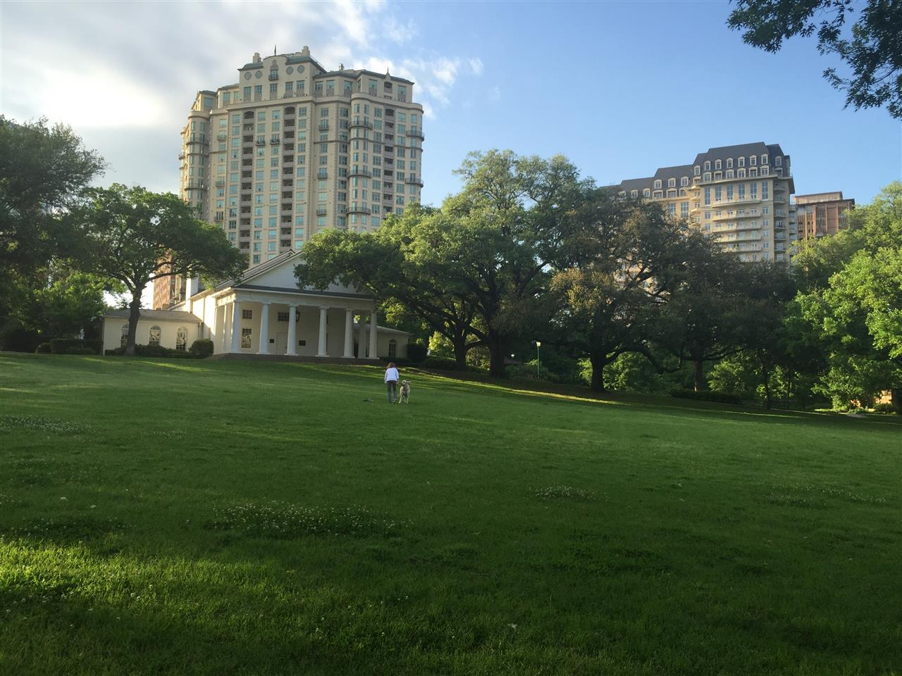 #Turtle Creek, #Lee Park, #Arlington Hall with highrises in the background, #Dallas, #Texas