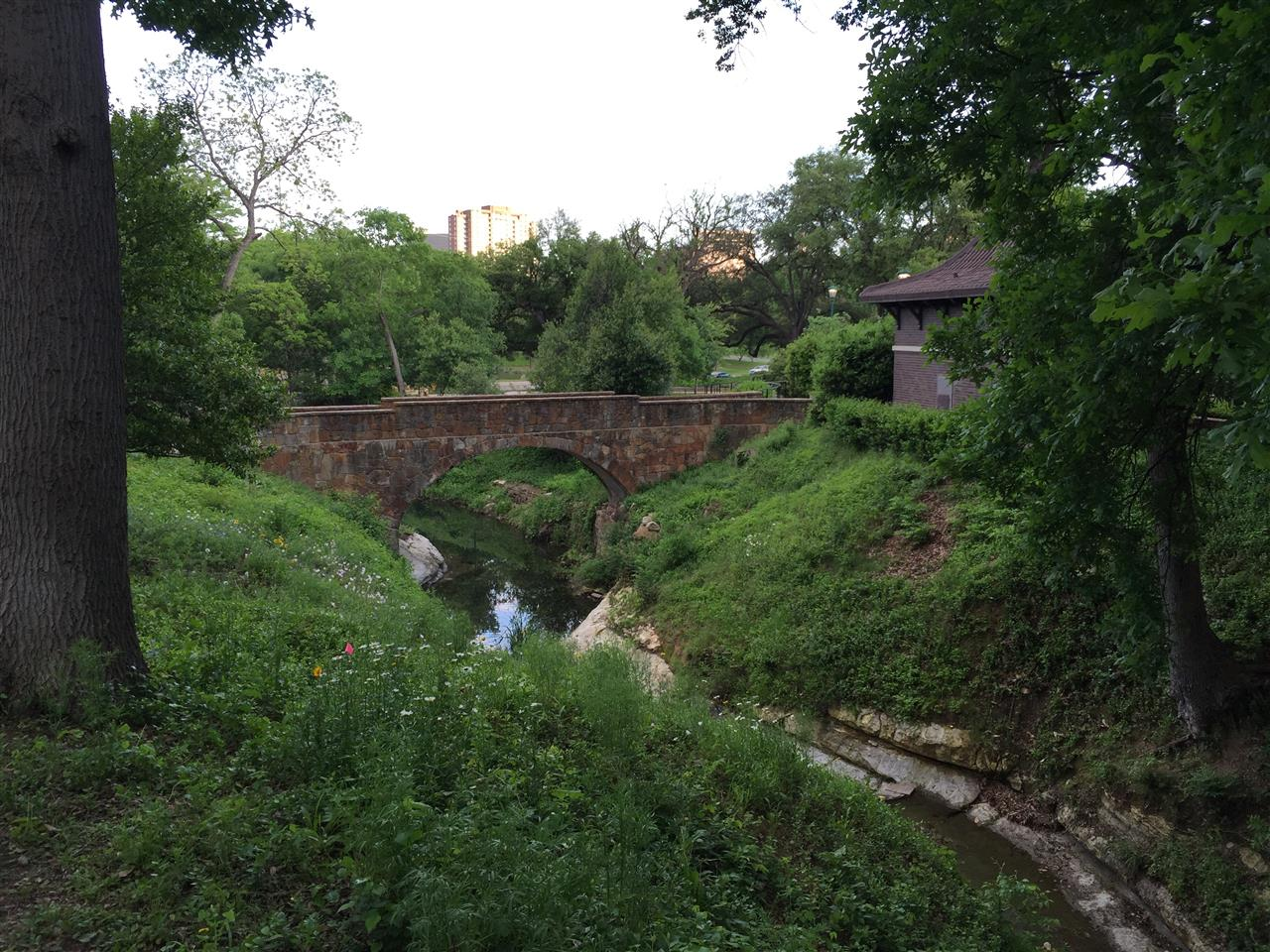 #Turtle Creek, #Lee Park, #restored WPA stone bridge back, #Dallas, #Texas