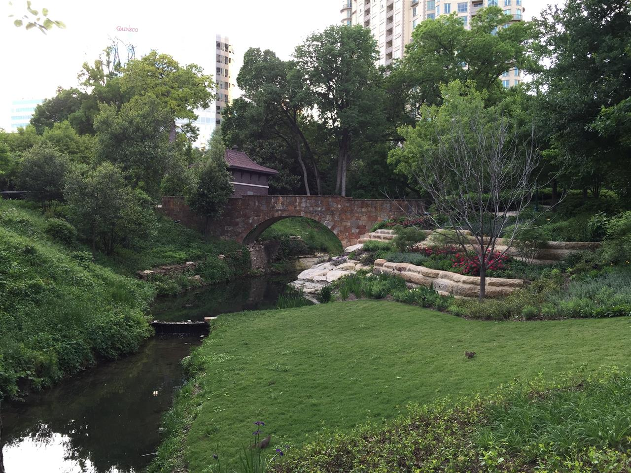#Turtle Creek, #Lee Park, #restored WPA stone bridge front, #Dallas, # Texas