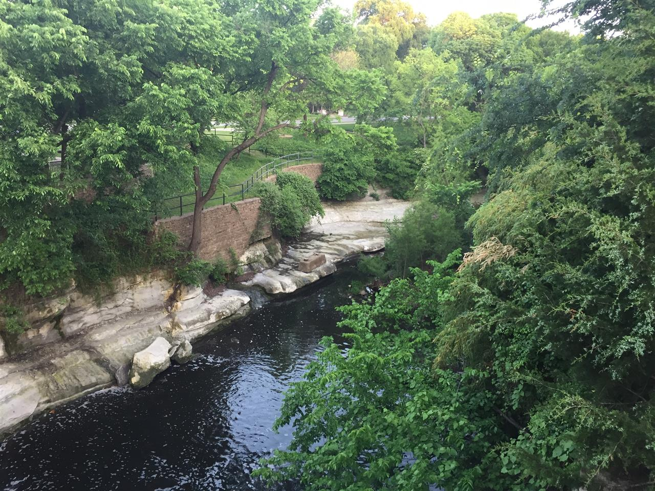 #Highland Park, #Turtle Creek, #Lakeside Park, view from bridge, #Dallas, #Texas