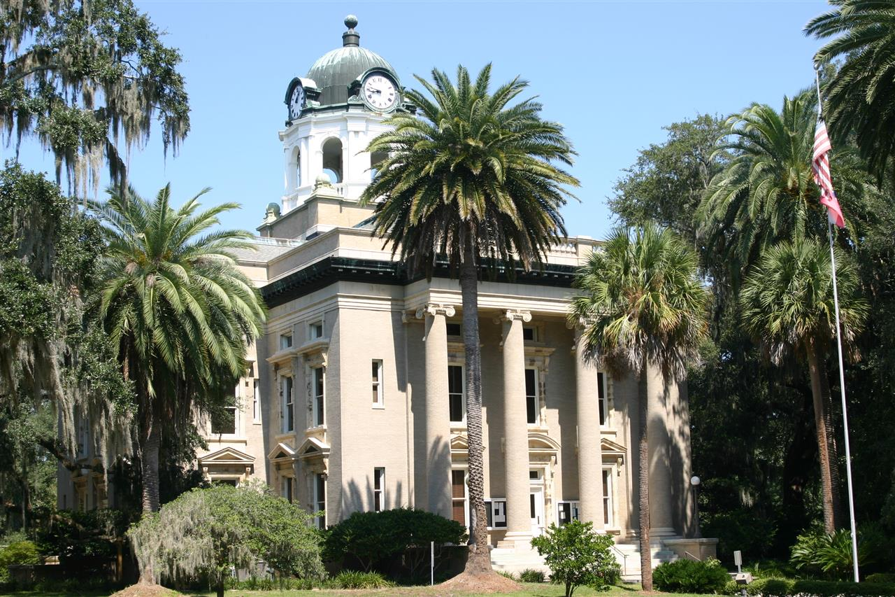 Historic Brunswick Courthouse - Situated in a grove of live oaks within Magnolia Square - one of the historic parks and squares