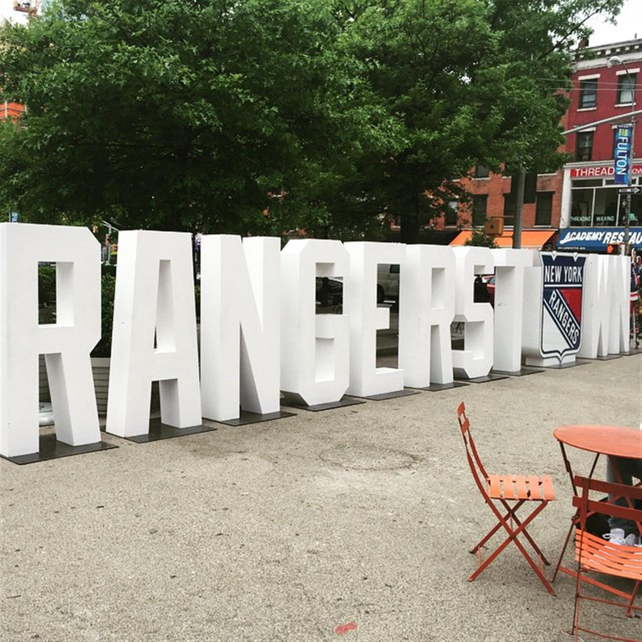 Fort Greene loves the #Rangers !! This #rangerstown display is right outside my office! #LGR #BROOKLYN #fultonstreet #leadingRElocal