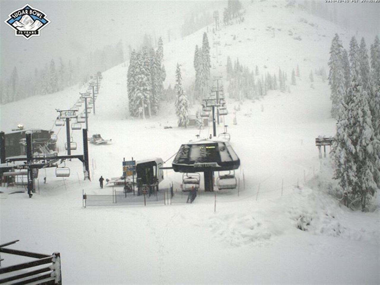We've got snow from top to bottom! Thanks Sugar Bowl Resort for the top of the mountain pic! Truckee/Lake Tahoe, CA