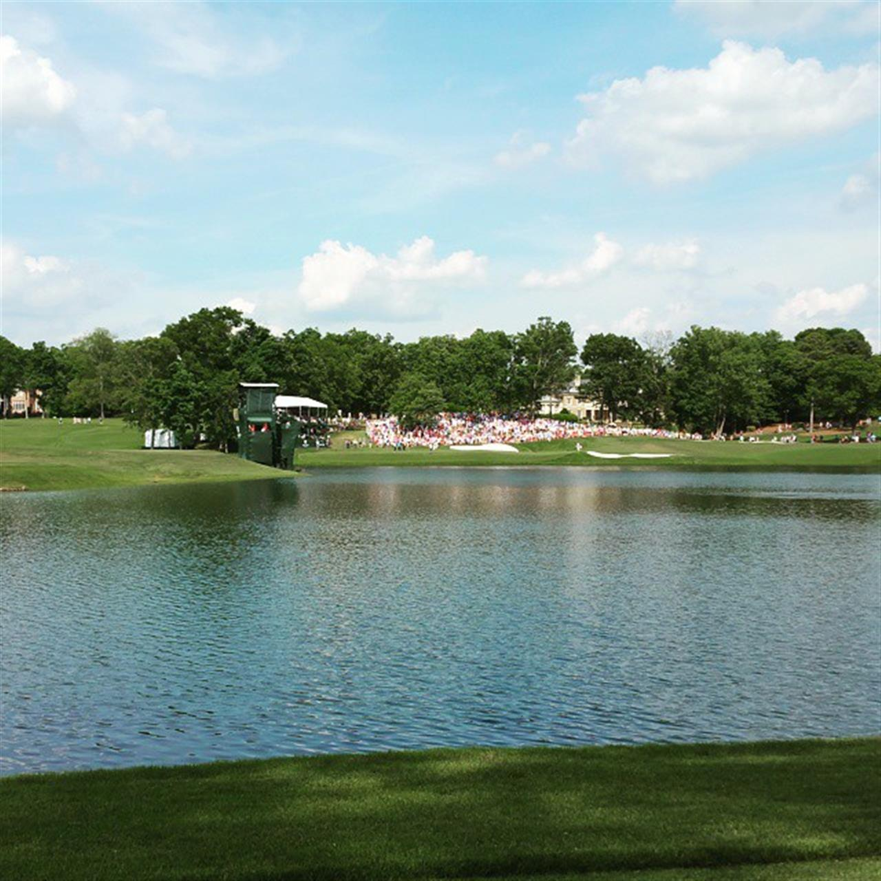 A crowded hill near the 14th green at Quail Hollow Country Club in Charlotte, NC. #leadingrelocal #pga