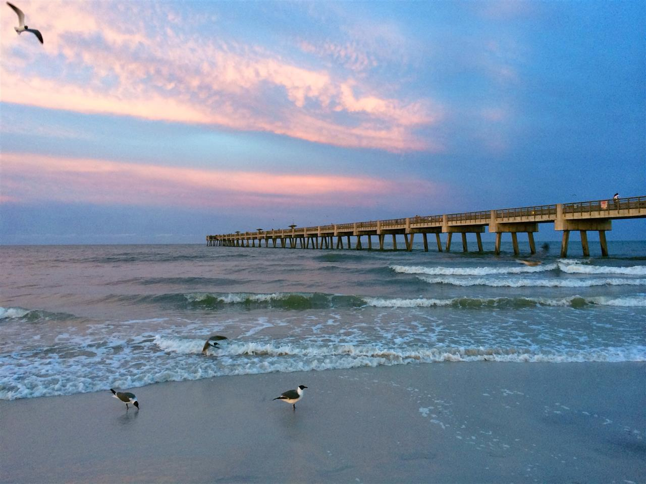 Sunset at the pier in Jacksonville Beach, FL #sunset #jacksonvillebeach #florida #beach