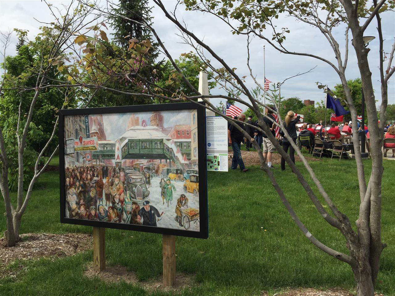 "Detroit Institute of Arts' ""Inside Out"" art instillation in Shain Park, the setting for the Memorial Day ceremony. Birmingham, Michigan #LeadingRElocal #Birmingham #Michigan"