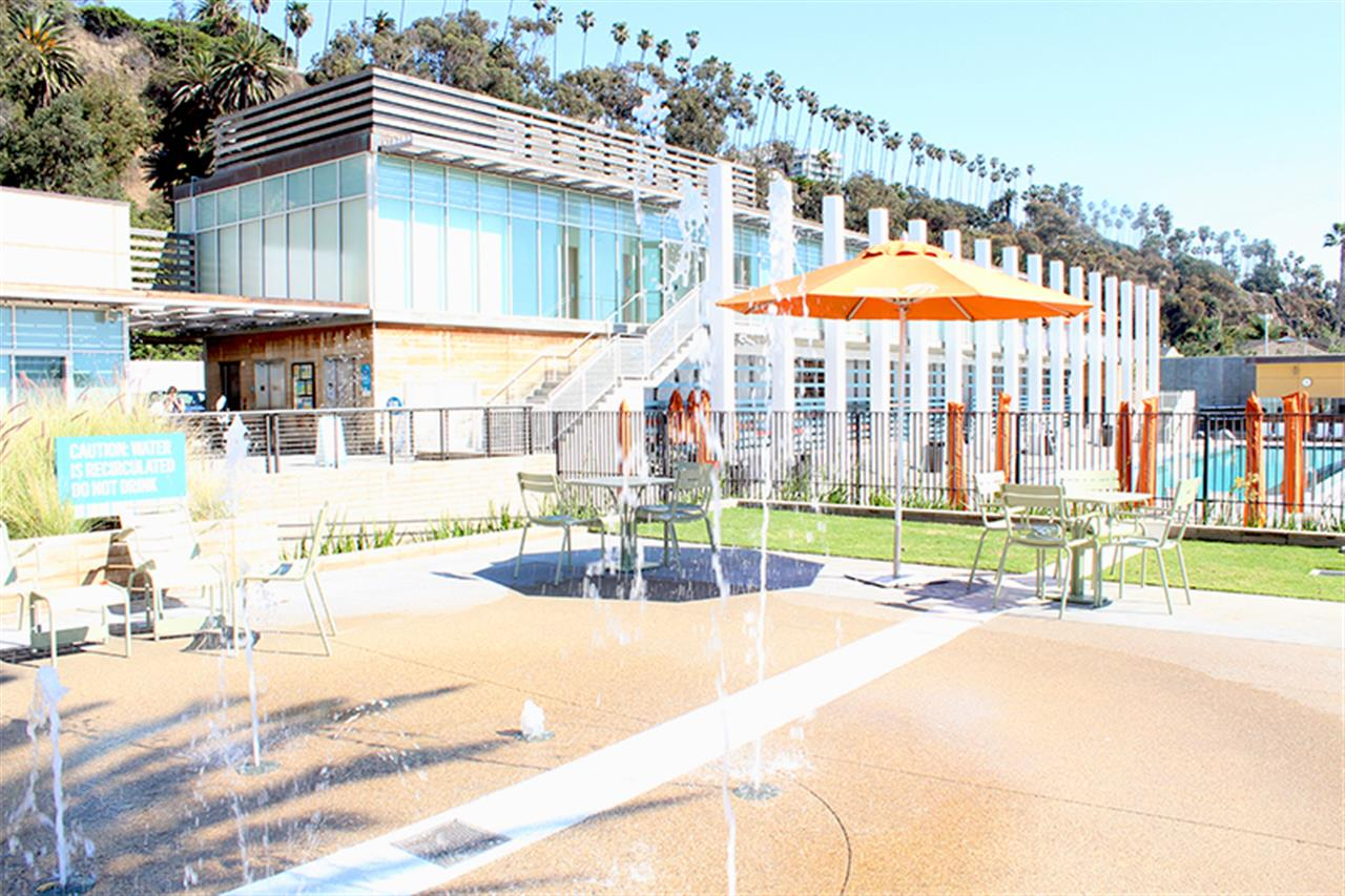 This photo is of fountains splashing outside the Annenberg Community Beach House in Santa Monica.