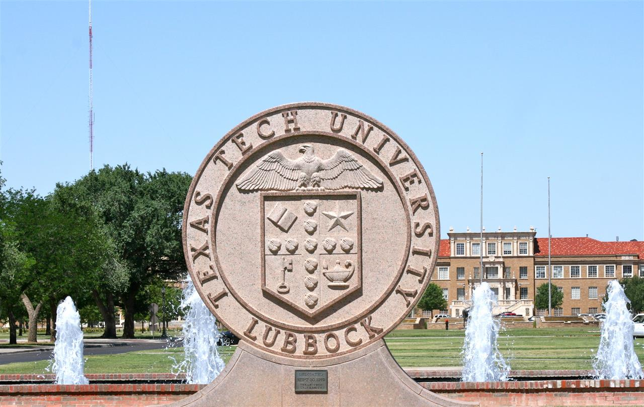 Seal of Texas Tech University at the main entrance to the beautiful campus